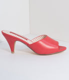 B.A.I.T. 1950s Red Leatherette Peep Toe Slipper Hindy Heels