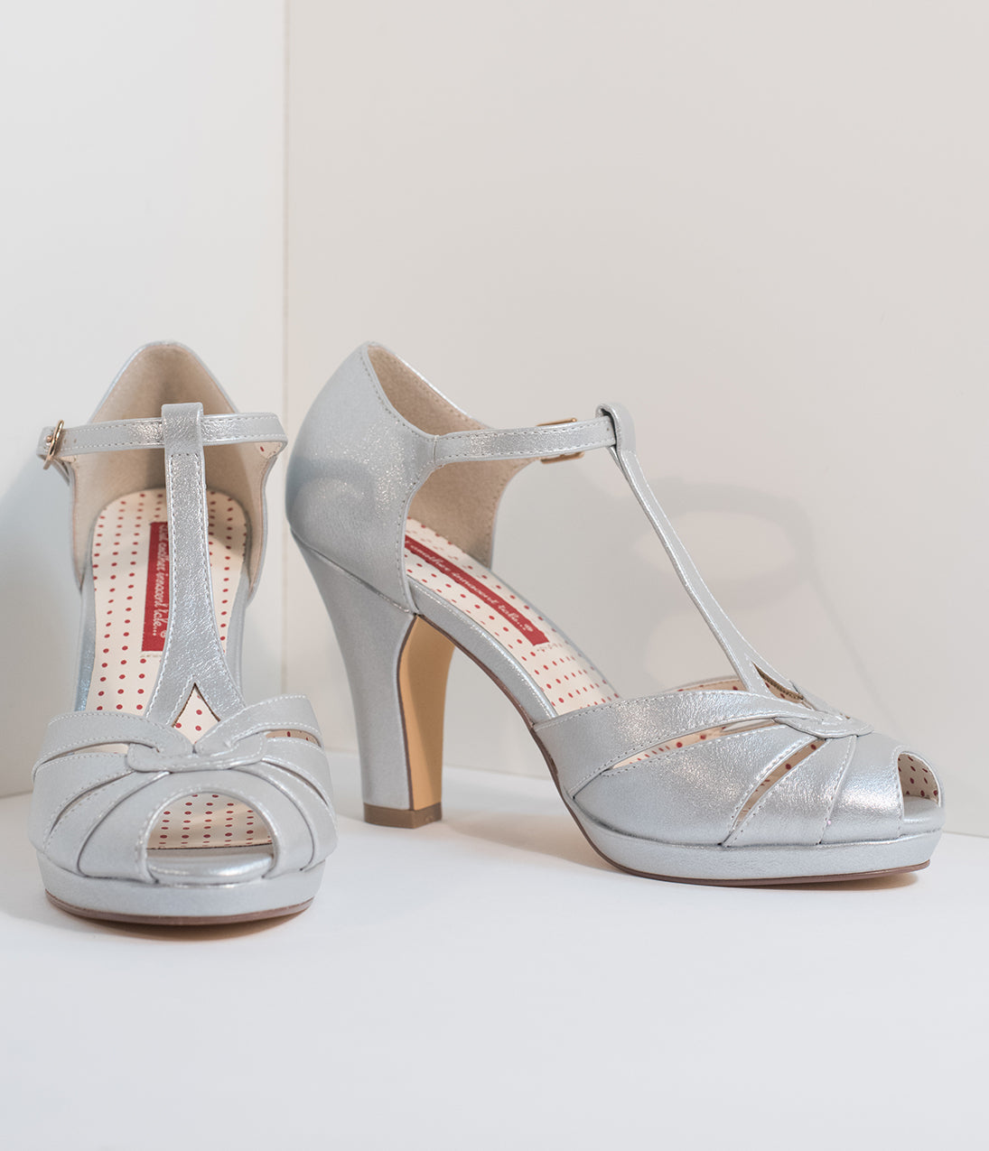 1940s Style Shoes, 40s Shoes B.a.i.t. Silver Pearl Patent Leatherette Peep Toe T-Strap Lacey Heels $76.00 AT vintagedancer.com