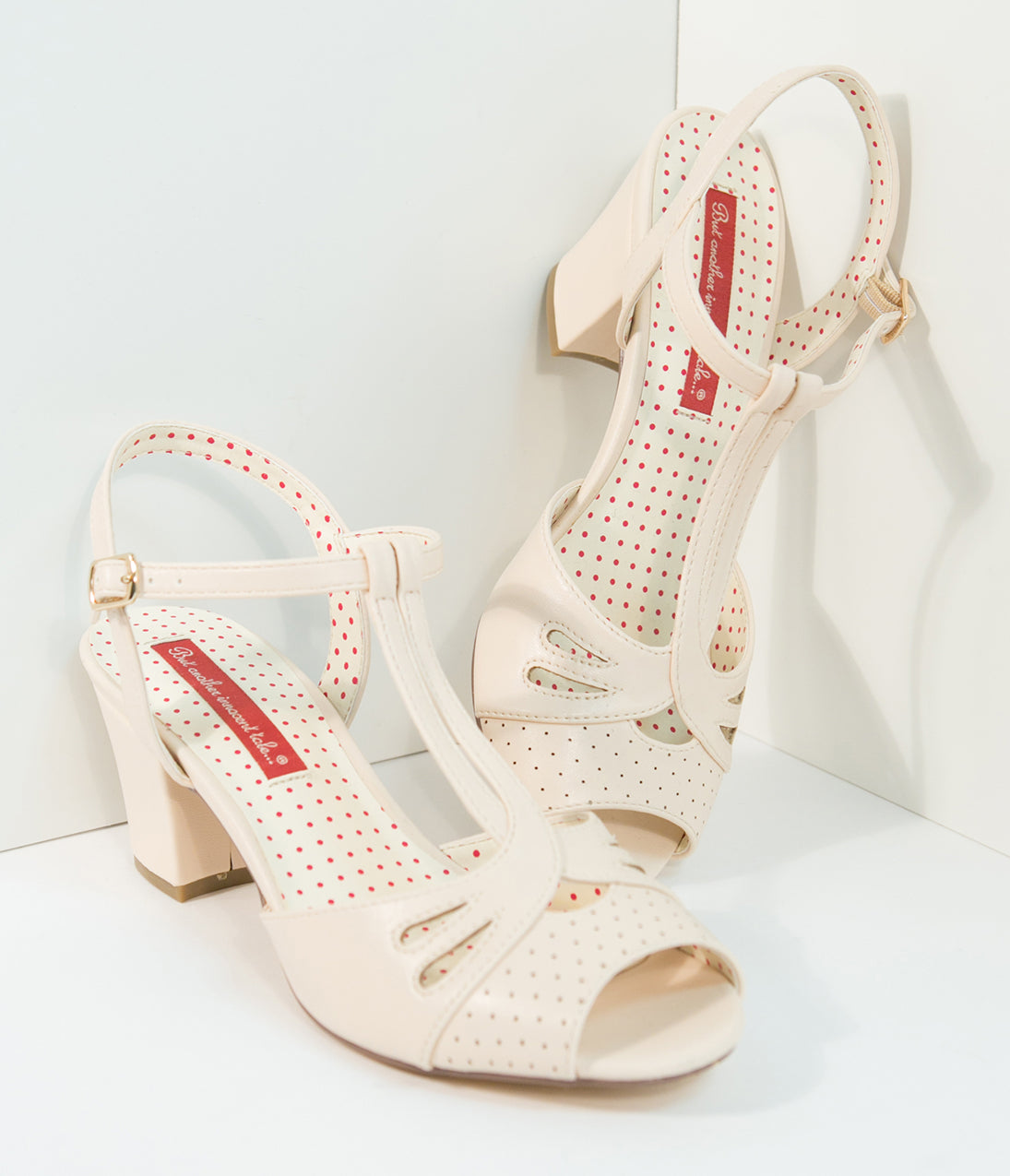 1950s Style Shoes B.a.i.t. 1940S Cream Blush Reanna T-Strap Heels $72.00 AT vintagedancer.com
