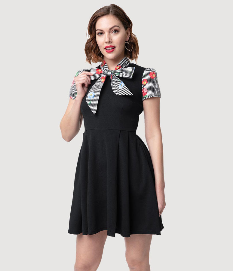 Smak Parlour 1960s Style Black Stripe & Floral Empower Hour Fit & Flare Dress