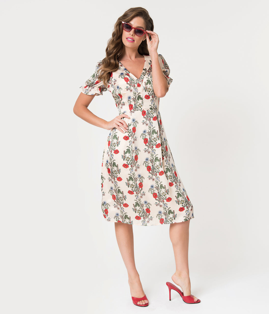 1940s Style Dresses | 40s Dress, Swing Dress 1940S Style Ivory Modern Icon Floral Print Satin Midi Dress $86.00 AT vintagedancer.com