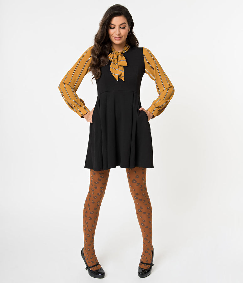 Black & Mustard Striped Long Sleeved She.E.O. Fit & Flare Dress