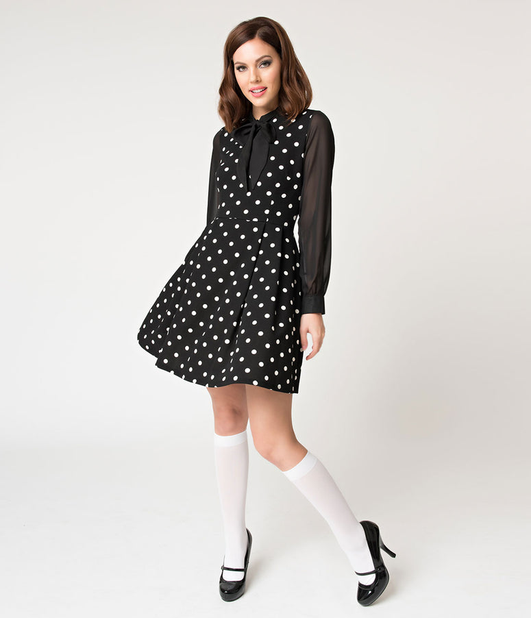 Black & White Polka Dot Mesh Sleeve She.E.O. Fit & Flare Dress