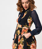 Smak Parlour Pink Floral & Royal Blue Mesh Sleeve She.E.O. Fit & Flare Dress