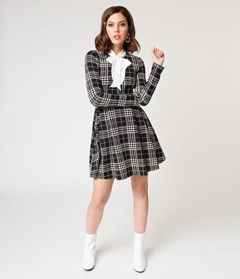 Black & White Plaid Long Sleeve Truth Or Flare Dress