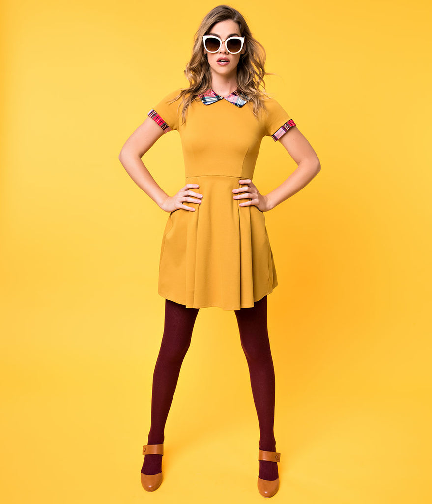 Mustard & Plaid Trim Short Sleeve Babe Revolution Fit & Flare Dress