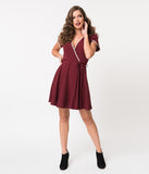 1960s Style Maroon Crepe Pretty Woke Fit & Flare Dress