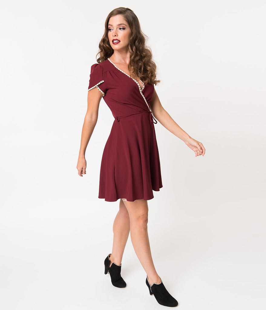 Smak Parlour 1960s Style Maroon Crepe Pretty Woke Fit & Flare Dress