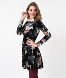 1960s Style Black Velvet Floral Long Sleeve Jet Set Fit & Flare Dress