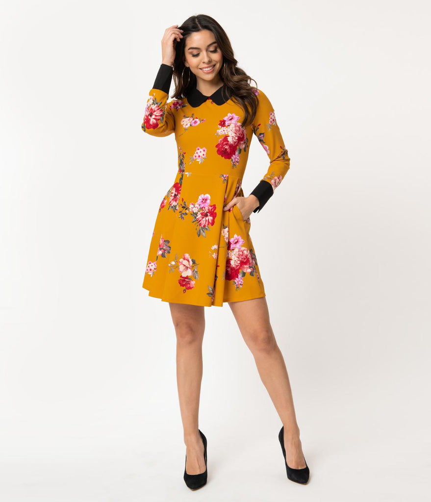 Smak Parlour Mustard & Pink Floral Long Sleeve New A-List Fit & Flare Dress