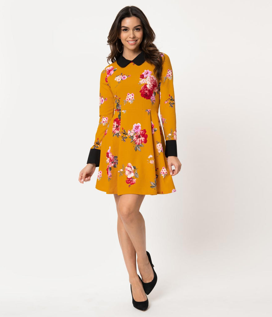 90c7a1419a3 ... Smak Parlour Mustard & Pink Floral Long Sleeve New A-List Fit & Flare  Dress
