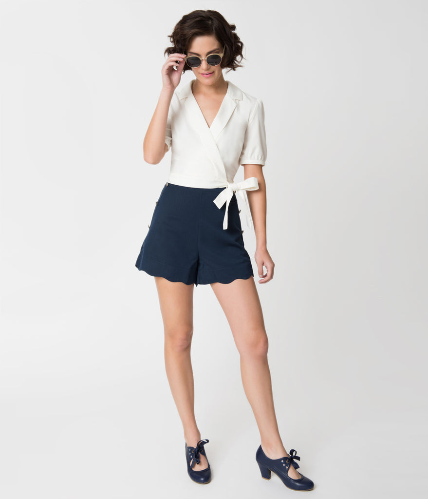 Banned Navy Blue & Silver Button Adorned Scalloped Sally Shorts