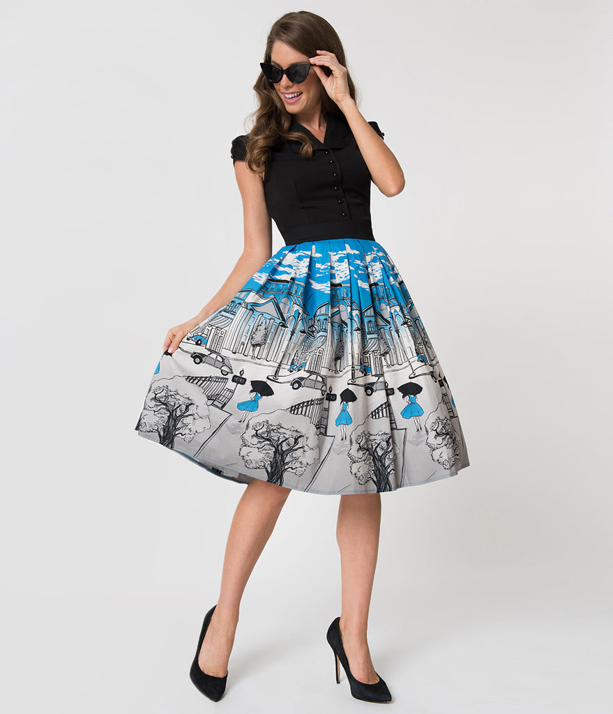 Banned Sky Blue & Grey Paris Print Pleated Cotton Swing Skirt