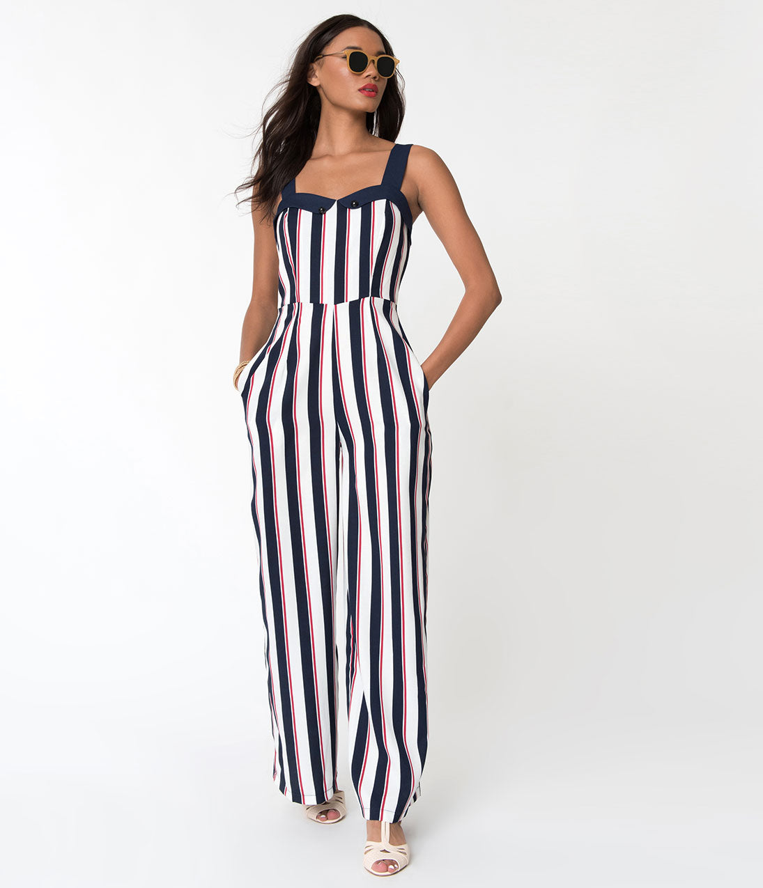 1950s Pants & Jeans- High Waist, Wide Leg, Capri, Pedal Pushers Banned Red White  Blue Striped Set Sail Sleeveless Crepe Jumpsuit $78.00 AT vintagedancer.com