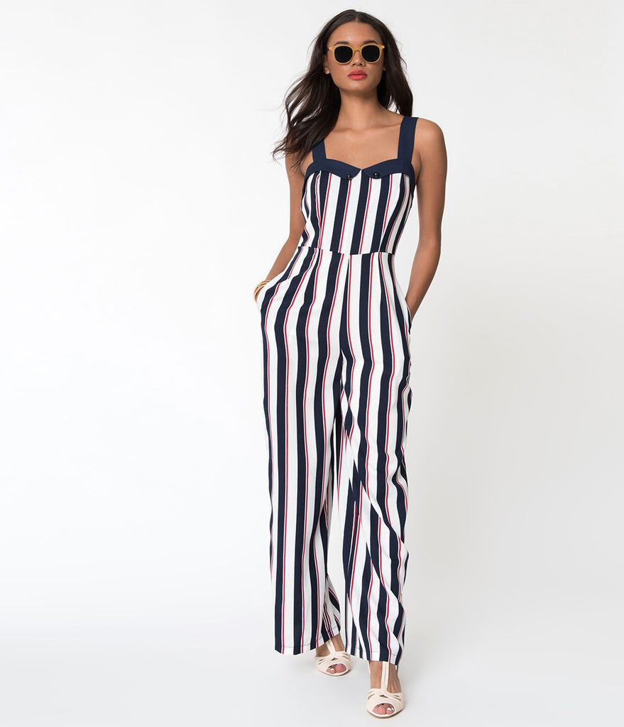 Banned Red White & Blue Striped Set Sail Sleeveless Crepe Jumpsuit