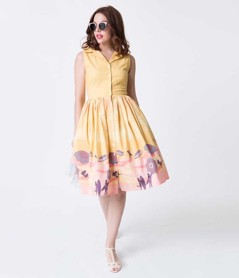 527800d932d8 Yellow   Pink Beach Parasol Print Cotton Button Up Dress