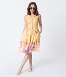 Banned Yellow & Pink Beach Parasol Print Cotton Button Up Dress