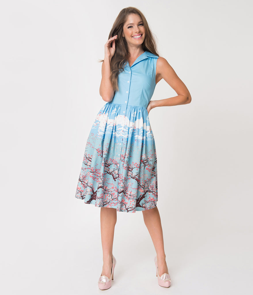 Banned Sky Blue & Pink Blossom Print Sleeveless Cotton Swing Dress