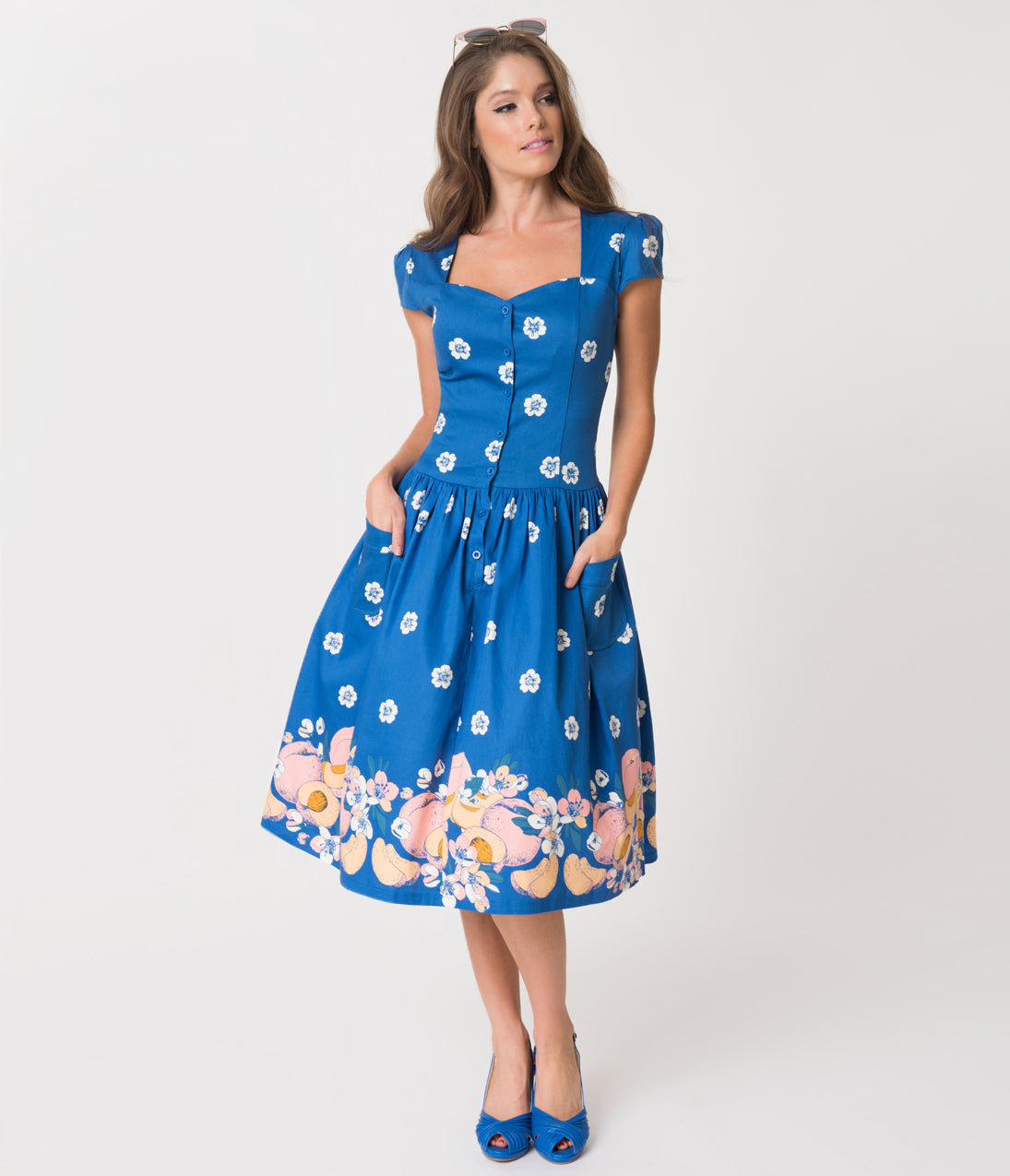 1940s Style Dresses | 40s Dress, Swing Dress Banned Blue  White Tropical Floral Tutti Fruity Cotton Swing Dress $71.00 AT vintagedancer.com
