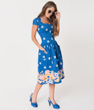 Banned Blue & White Tropical Floral Tutti Fruity Cotton Swing Dress