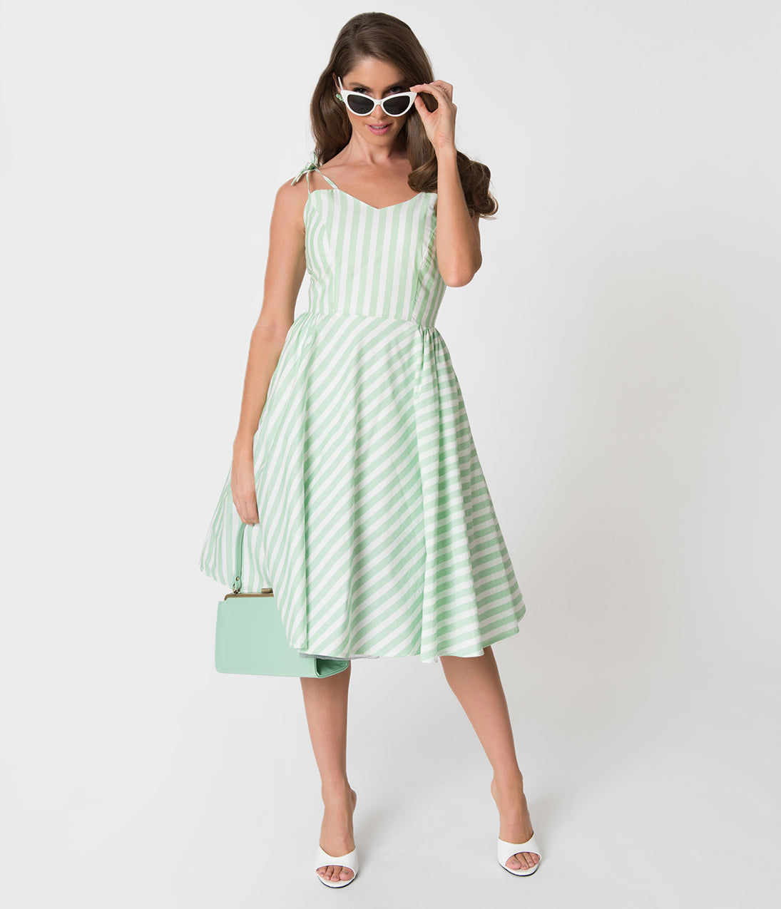 Pin Up Dresses | Pin Up Clothing Banned Light Green  White Candy Stripe Cotton Swing Dress $88.00 AT vintagedancer.com
