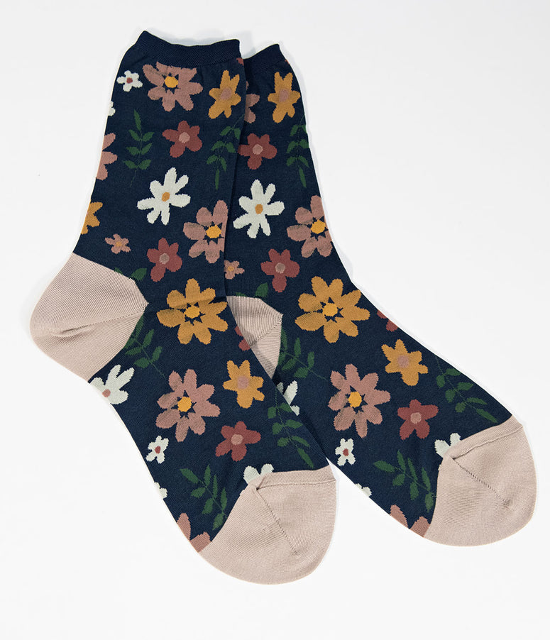 1970s Style Navy & Multicolor Floral Crew Sock