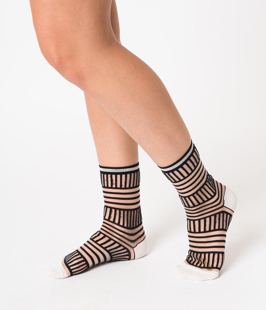 Black & Sheer Illusion Stripe Crew Sock