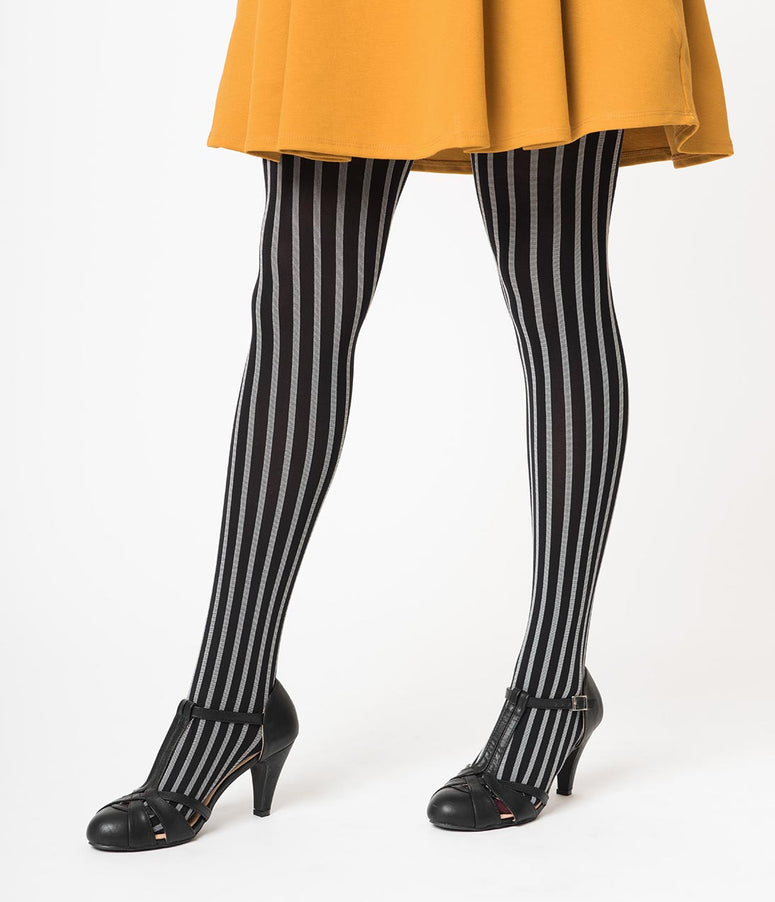 Black & Grey Stripe Nylon Tights