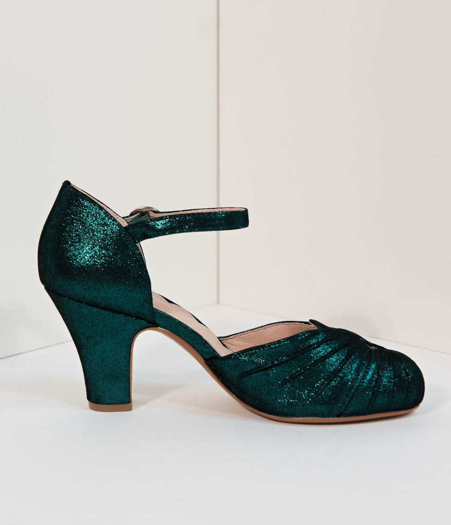 210b354be2e7 ... Miss L Fire 1940s Style Emerald Green Sparkle Keyhole Amber Heels ...