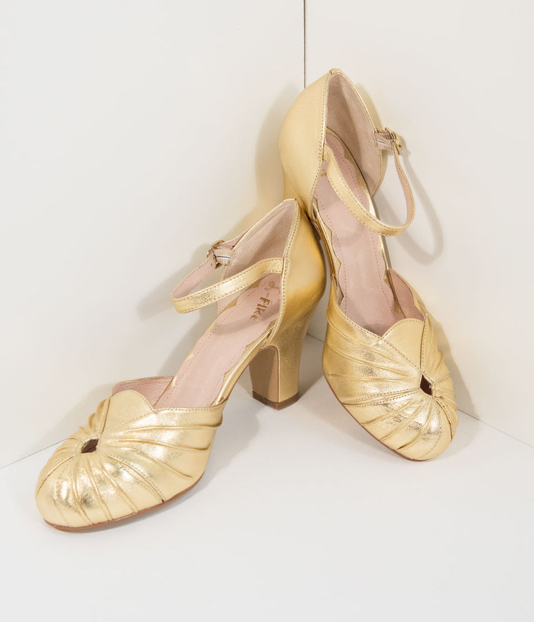 Miss L Fire 1940s Style Gold Sparkle Keyhole Amber Heels