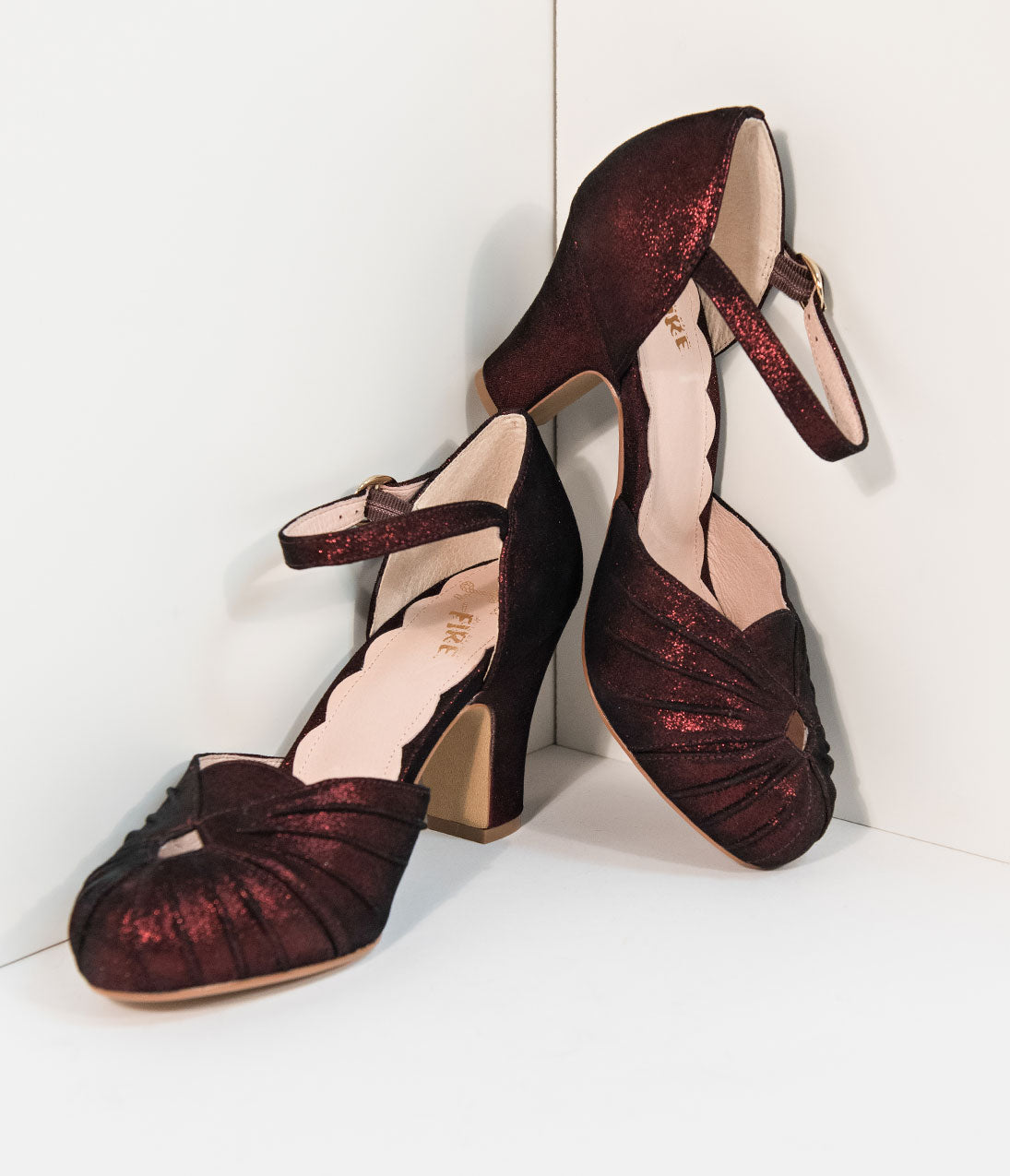 1940s Style Shoes, 40s Shoes Miss L Fire 1940S Style Burgundy Red Sparkle Keyhole Amber Heels $131.00 AT vintagedancer.com