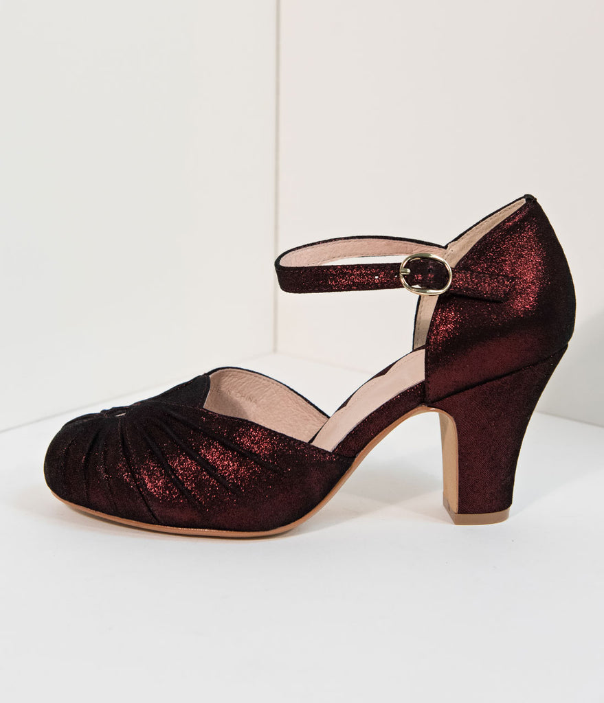 d16e1383ebd1 ... Miss L Fire 1940s Style Burgundy Red Sparkle Keyhole Amber Heels ...