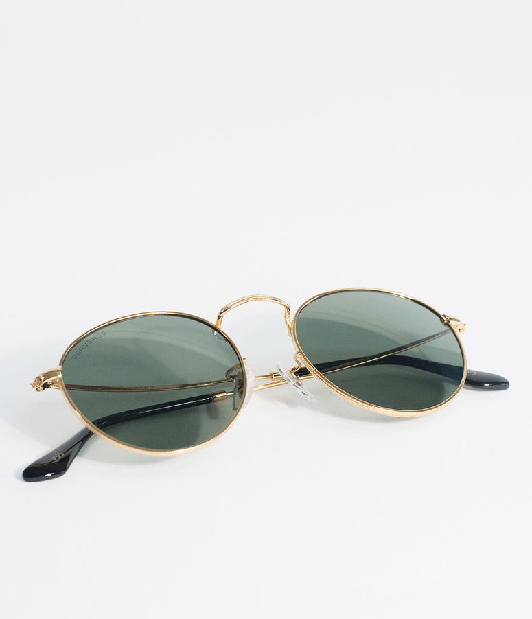 Perverse Gold & Green Quarter Orleans Round Sunglasses