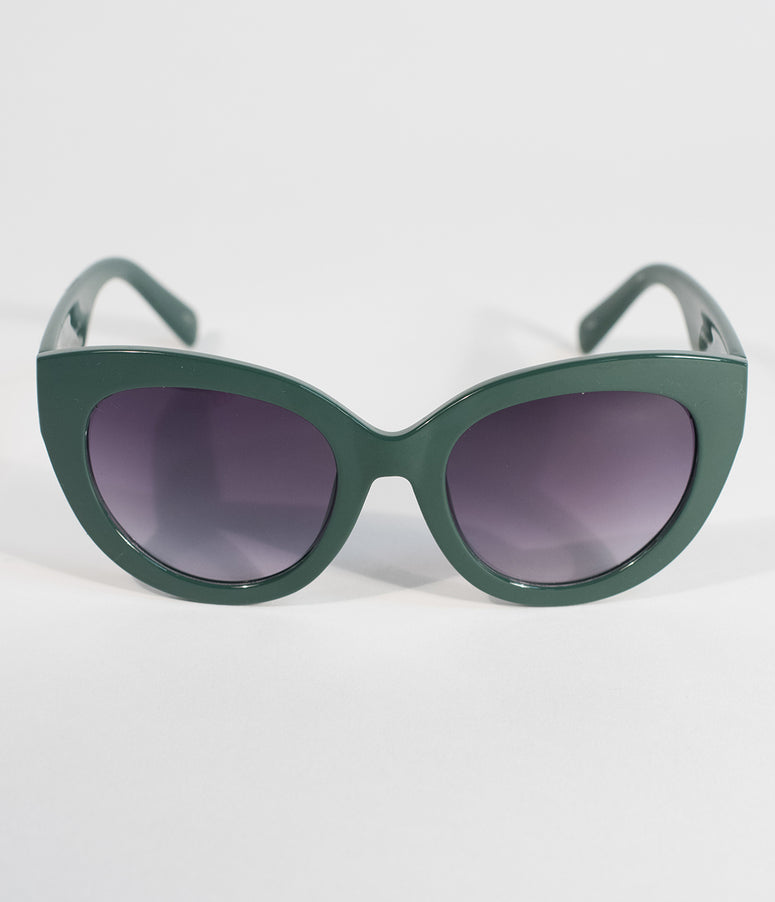 Perverse Swamp Green Dahlia Cat Eye Sunglasses