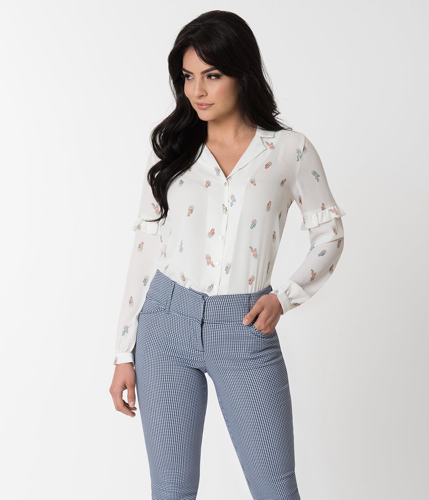 White & Cactus Print Long Sleeve Button Up Chiffon Blouse