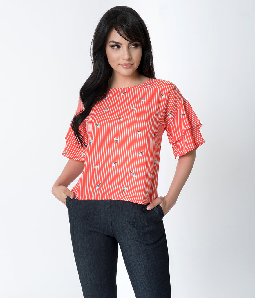 Coral & White Striped Ice Cream Print Bell Sleeved Chiffon Blouse