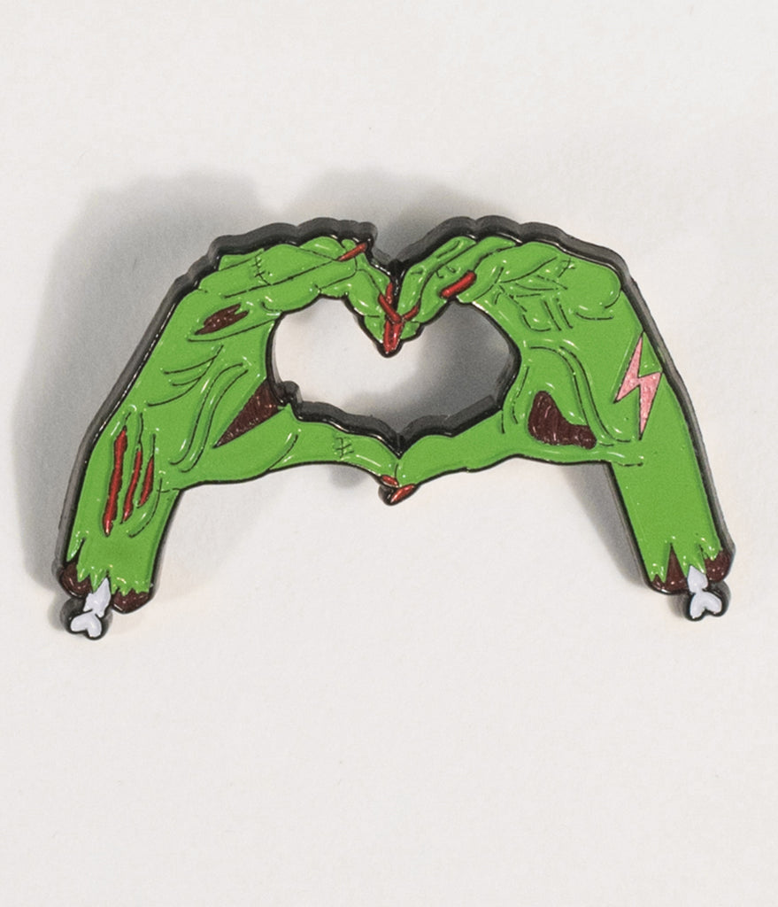 Green Zombie Love Enamel Pin