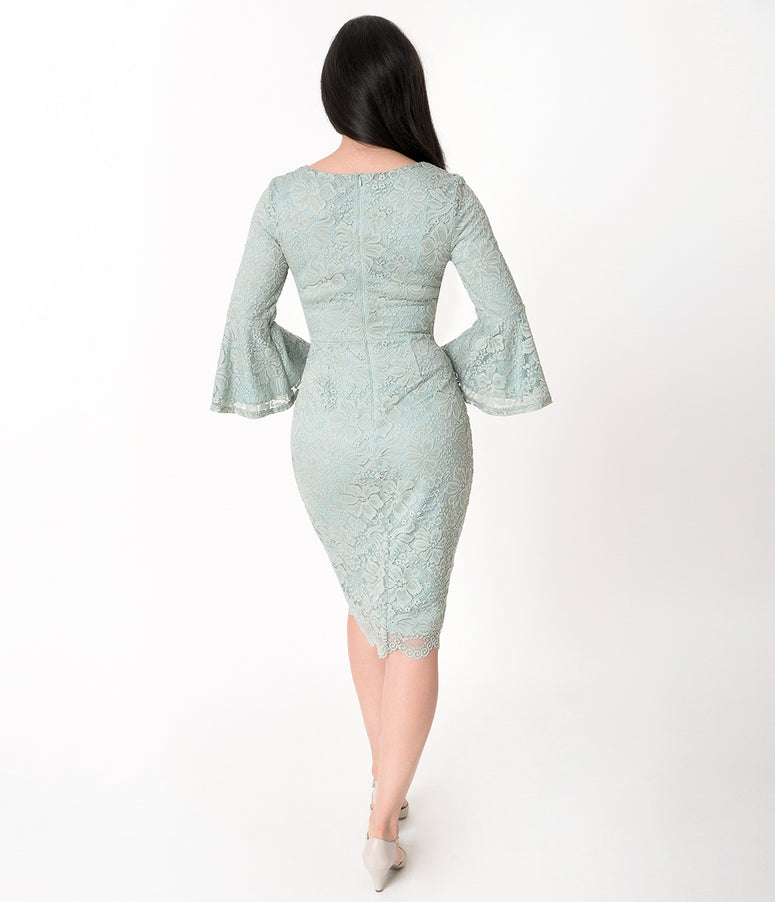 Vintage Style Sage & Mint Green Lace Bell Sleeved April Wiggle Dress