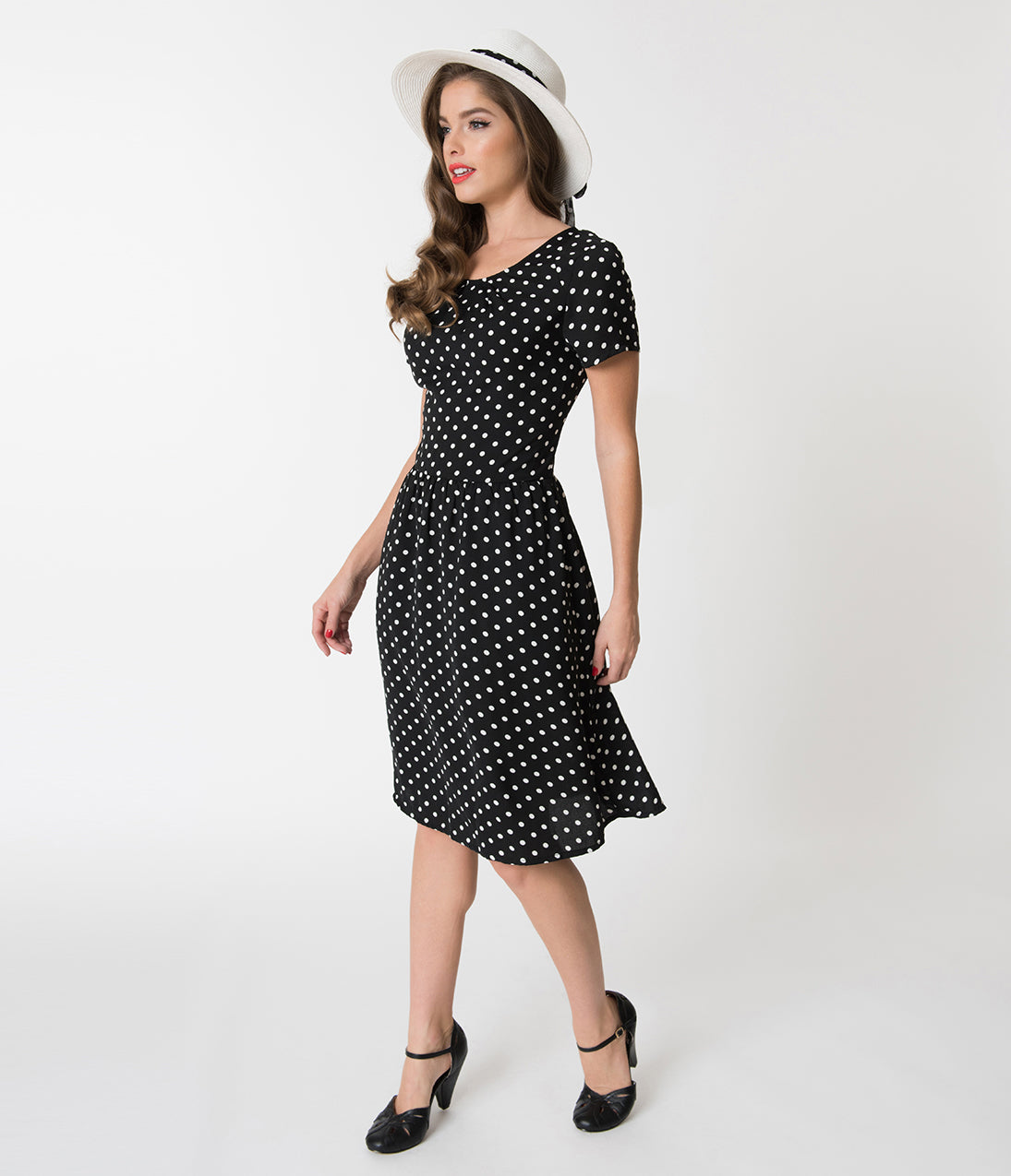 Polka Dot Dresses: 20s, 30s, 40s, 50s, 60s 1950S Style Black  White Polka Dot Short Sleeve Elizabeth Swing Dress $58.00 AT vintagedancer.com