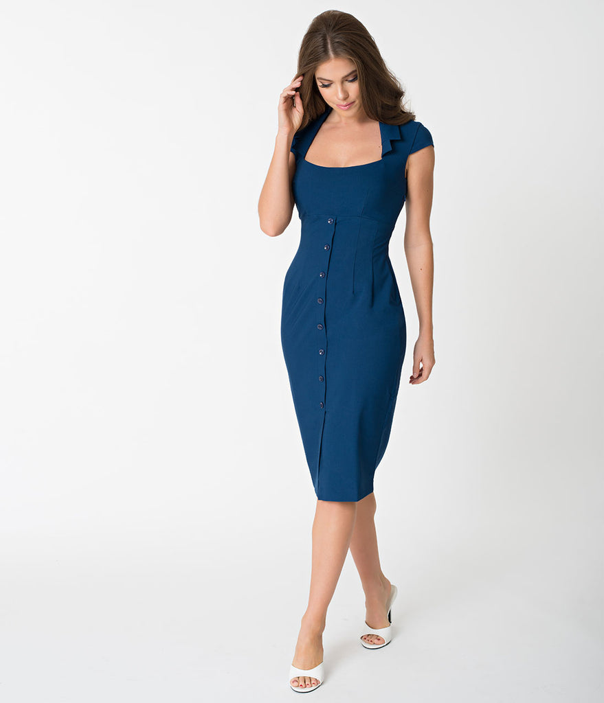 Glamour Bunny Navy Blue Cap Sleeve Lexy Pencil Dress – Unique Vintage