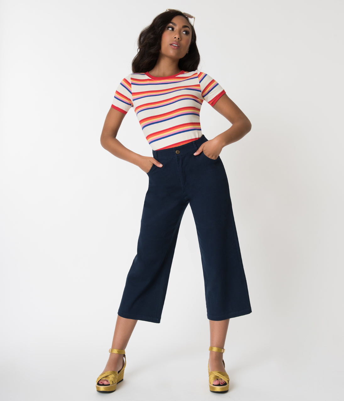 1950s Pants & Jeans- High Waist, Wide Leg, Capri, Pedal Pushers Retro Style Navy Blue High Waist Cotton Capri Pants $68.00 AT vintagedancer.com