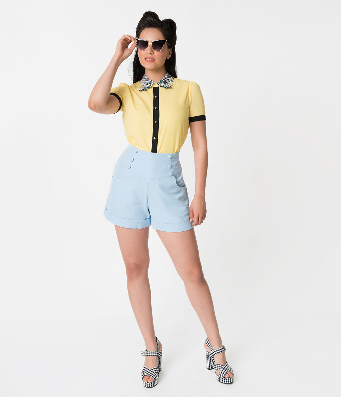Vintage High Waisted Shorts | 1950s Pinup, Rockabilly Shorts Banned Vintage Style Baby Blue Button Detailed High Waisted Shorts $58.00 AT vintagedancer.com