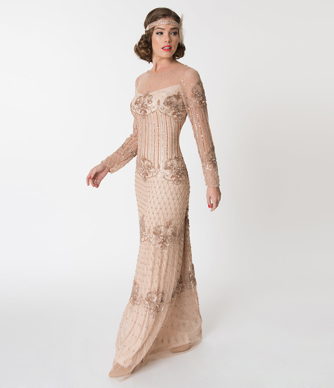 1920s Style Dresses, Flapper Dresses Blush Pink Embellished Mesh Long Sleeve Dolores Flapper Dress $218.00 AT vintagedancer.com