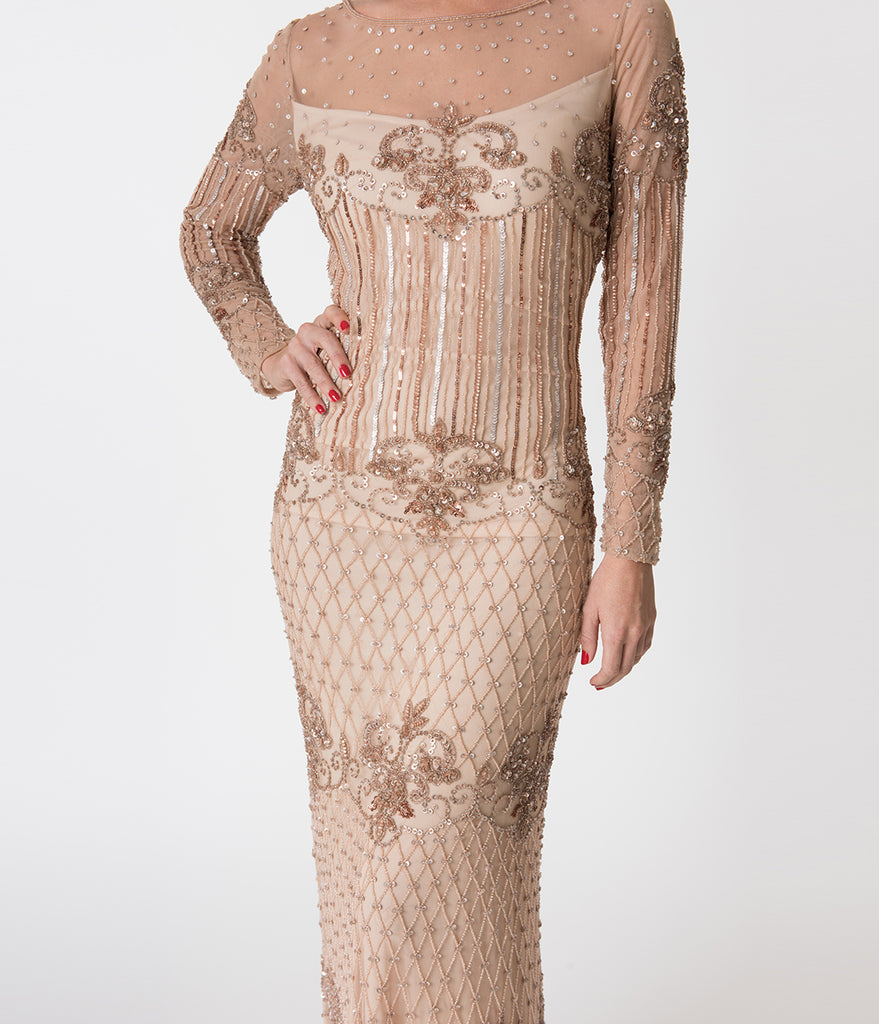 Blush Pink Embellished Mesh Long Sleeve Dolores Flapper Dress