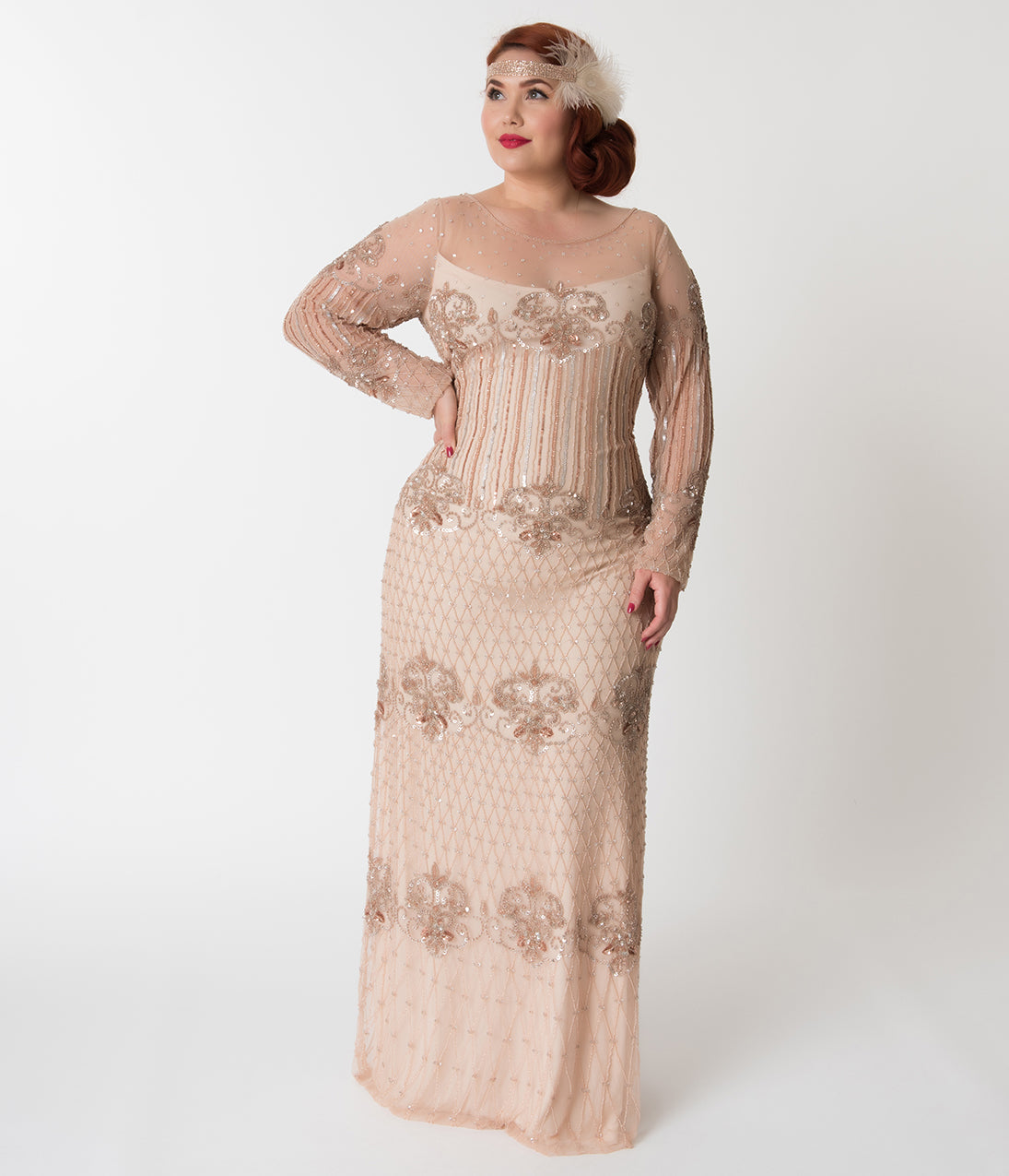 1930s Evening Dresses | Old Hollywood Dress Plus Size Blush Pink Embellished Mesh Long Sleeve Dolores Flapper Dress $218.00 AT vintagedancer.com