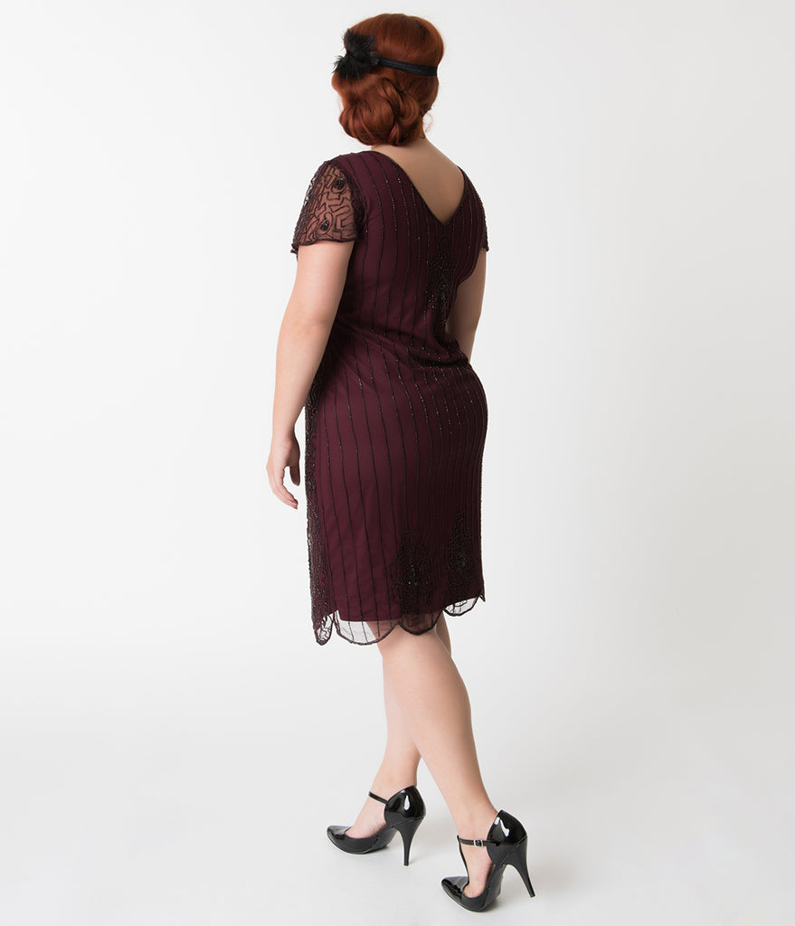 Plus Size 1920s Style Plum Purple Beaded Cap Sleeve Edwardian Flapper Dress