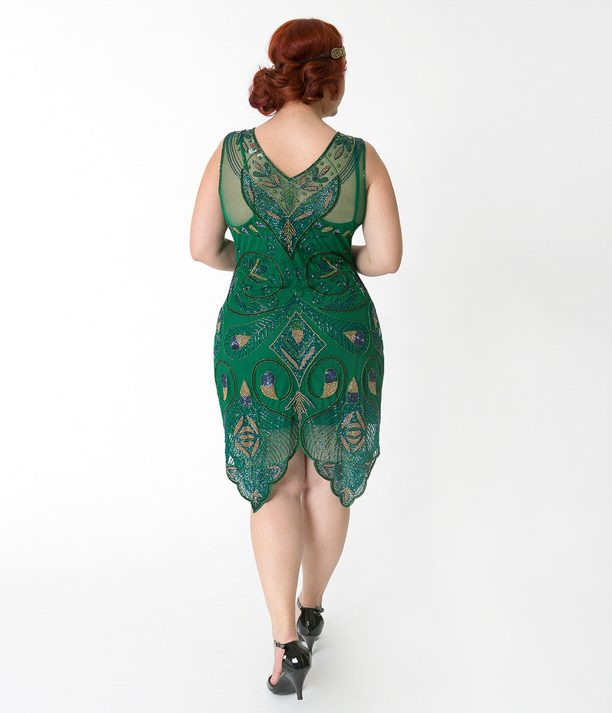 1920s Style Plus Size Emerald Green & Gold Beaded Emma Flapper Dress