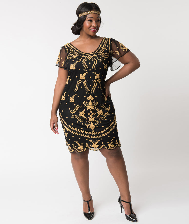 Plus Size Vintage Style Black & Gold Embroidered Florence Flapper