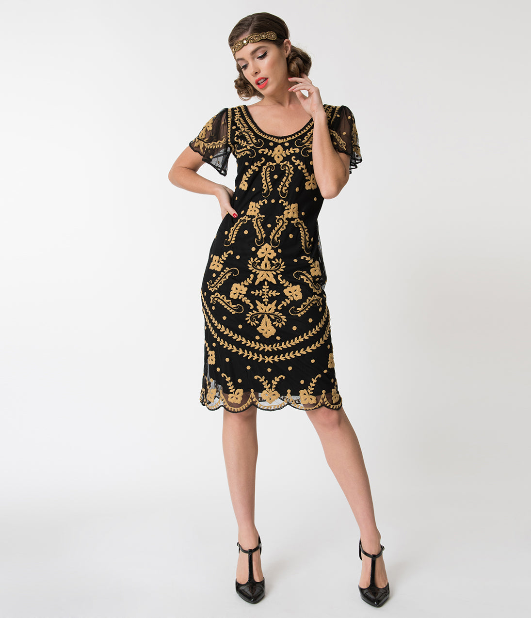 1920s Style Dresses, Flapper Dresses Vintage Style Black  Gold Embroidered Florence Flapper Dress $98.00 AT vintagedancer.com