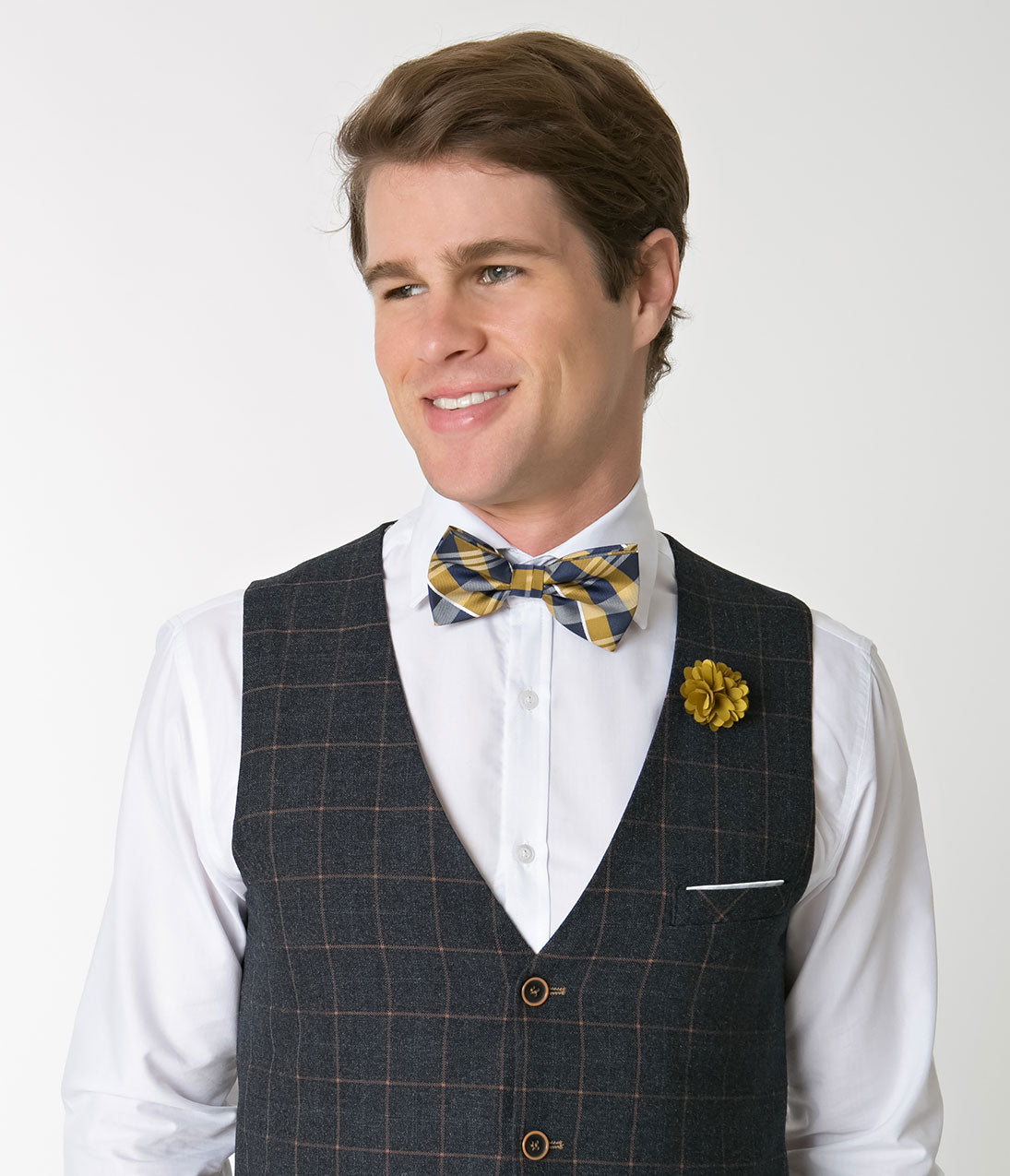 1940s Men's Fashion Clothing Styles Yellow  Navy Plaid Bow Tie  Lapel Pin Set $16.00 AT vintagedancer.com